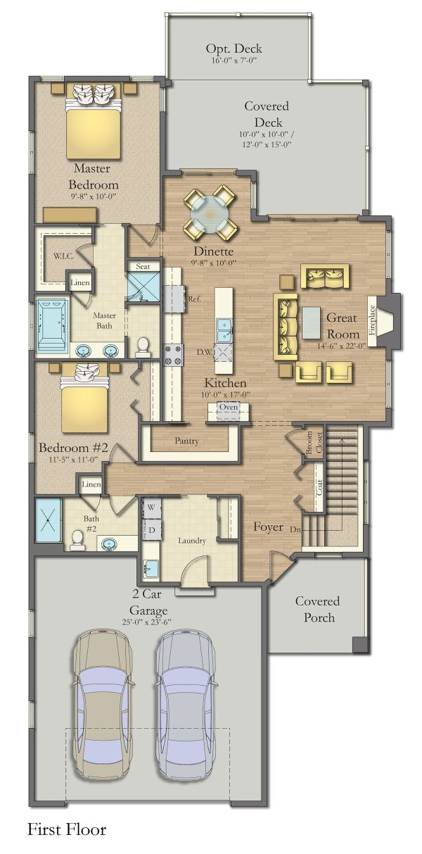 Craftsman Floor Plan - Main Floor Plan Plan #1057-9