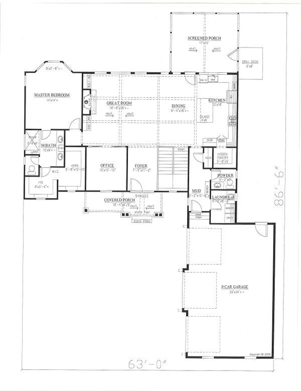Dream House Plan - Craftsman Floor Plan - Main Floor Plan #437-128