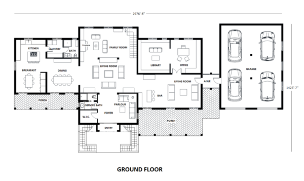 European Floor Plan - Main Floor Plan Plan #542-9