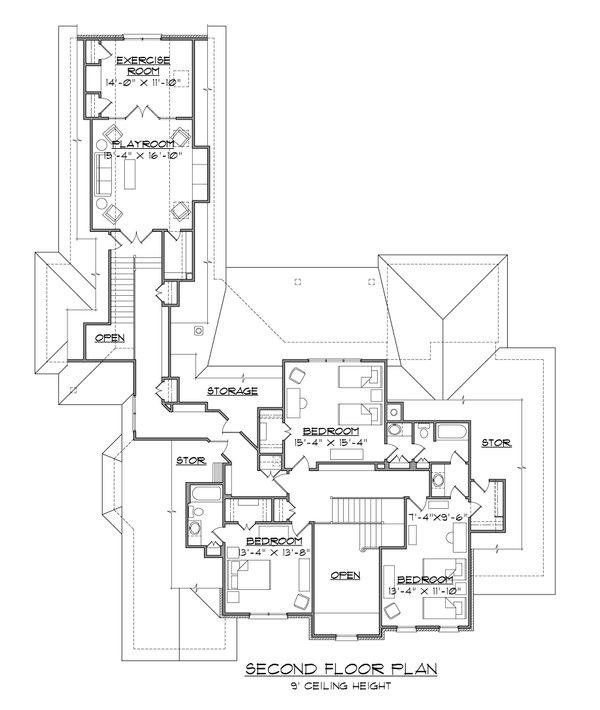Traditional Floor Plan - Upper Floor Plan #1054-59