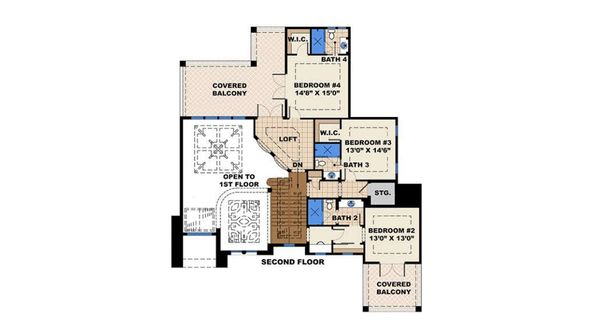 Mediterranean Floor Plan - Upper Floor Plan Plan #27-539