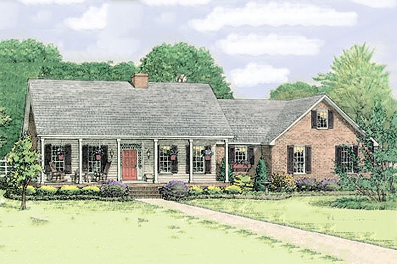 Country Exterior - Front Elevation Plan #406-139 - Houseplans.com