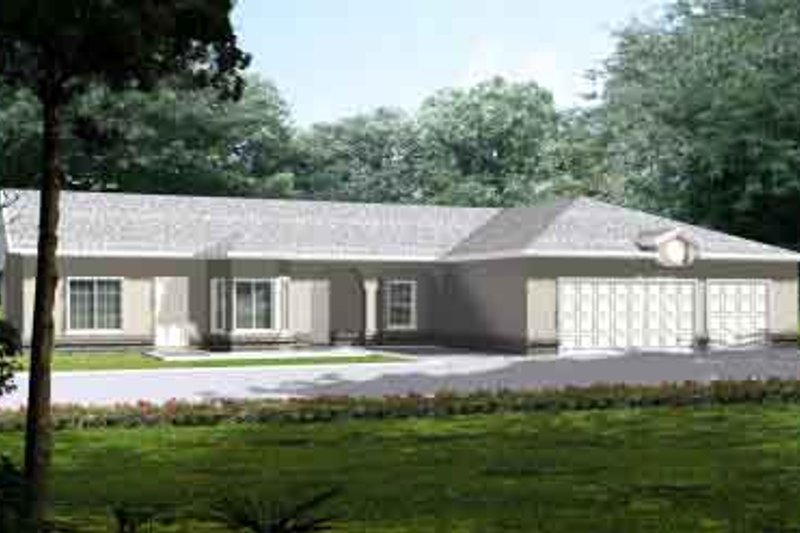 Adobe / Southwestern Style House Plan - 4 Beds 3 Baths 1984 Sq/Ft Plan #1-1396 Exterior - Front Elevation