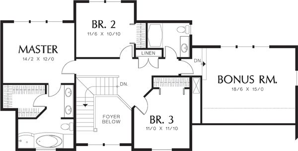 Upper level floor plan - 2200 square foot Country home