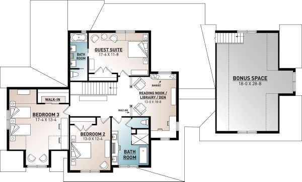 Farmhouse Floor Plan - Upper Floor Plan Plan #23-2687