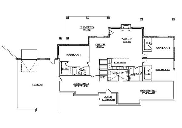 European Floor Plan - Lower Floor Plan Plan #5-350