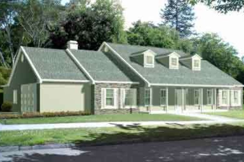 Traditional Style House Plan - 3 Beds 2 Baths 2161 Sq/Ft Plan #1-1437 Exterior - Front Elevation