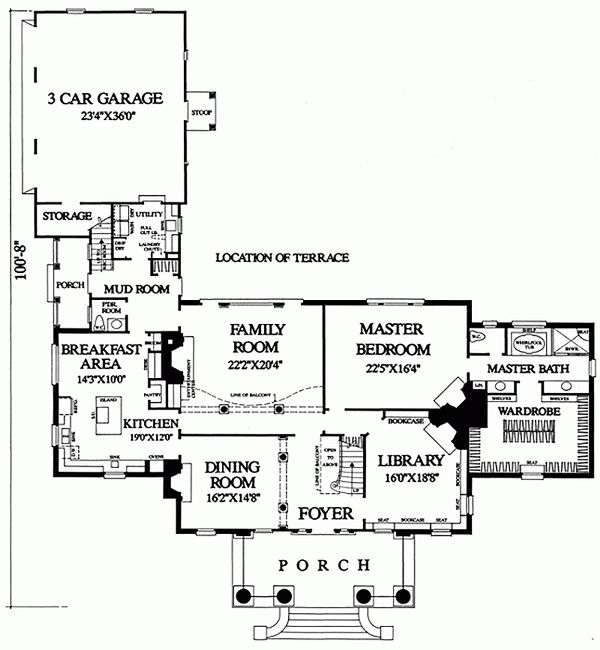Southern Floor Plan - Main Floor Plan Plan #137-120