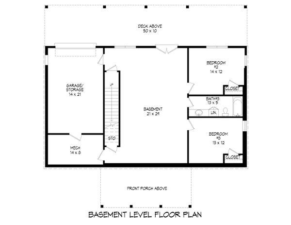 Architectural House Design - Farmhouse Floor Plan - Lower Floor Plan #932-388