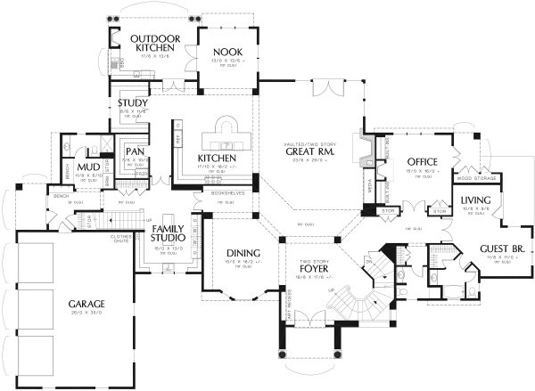 European Floor Plan - Main Floor Plan Plan #48-962