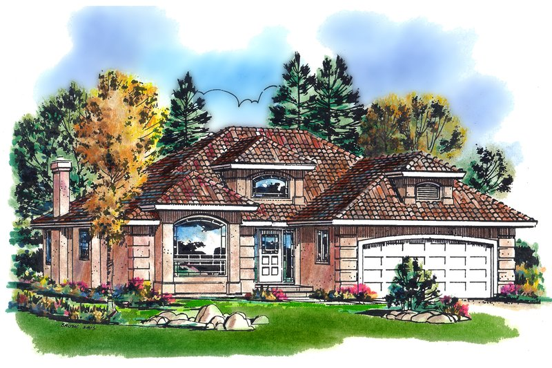 Traditional Style House Plan - 2 Beds 2 Baths 1457 Sq/Ft Plan #18-1006 Exterior - Front Elevation