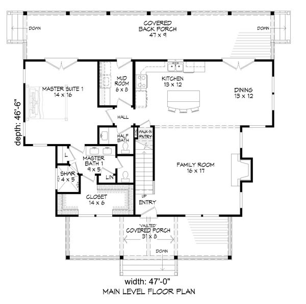 Dream House Plan - Cabin Floor Plan - Main Floor Plan #932-252