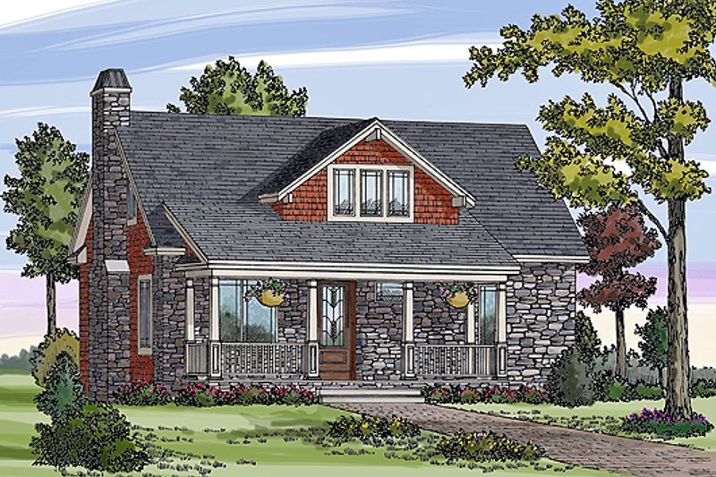 Craftsman Style House Plan - 3 Beds 2.5 Baths 1505 Sq/Ft Plan #456-5 Exterior - Front Elevation