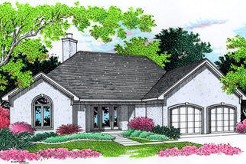 European Style House Plan - 3 Beds 2 Baths 1420 Sq/Ft Plan #45-267 Exterior - Front Elevation
