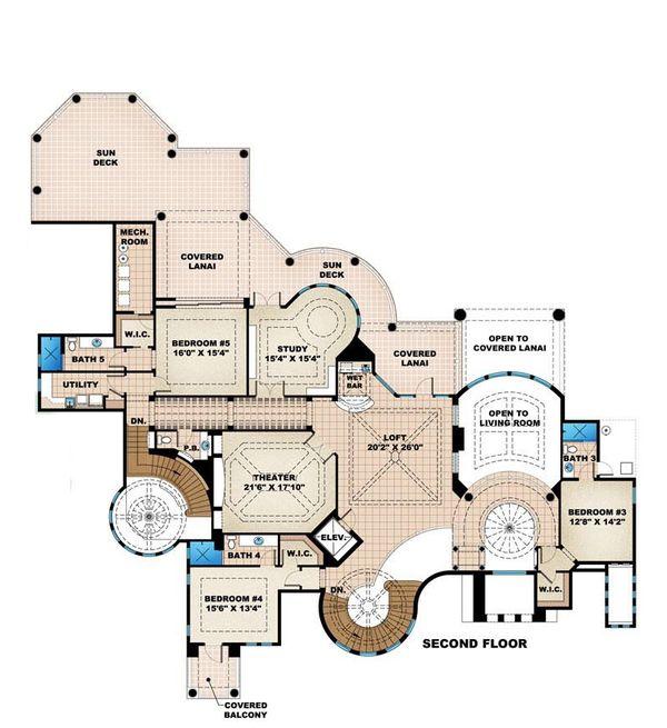 Mediterranean Floor Plan - Upper Floor Plan #27-479