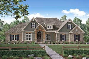Craftsman Exterior - Front Elevation Plan #430-155