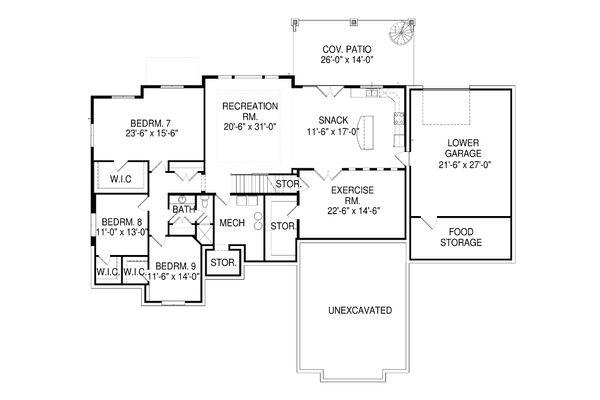 Architectural House Design - European Floor Plan - Lower Floor Plan #920-87