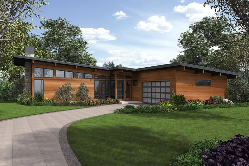 Home Plan - Contemporary Exterior - Front Elevation Plan #48-1001