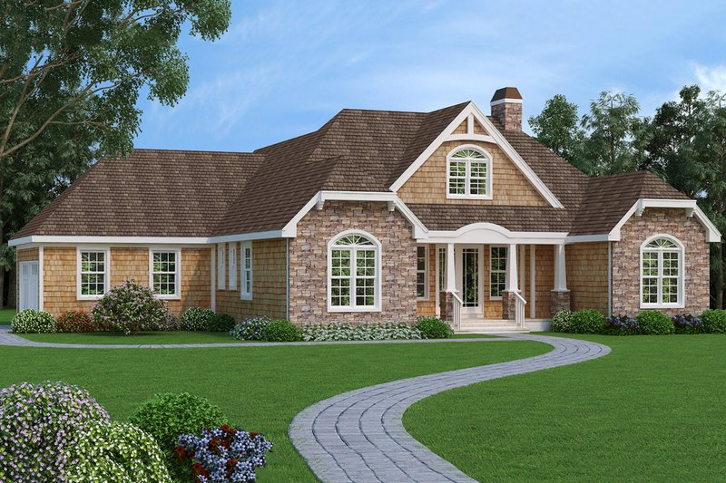 Home Plan - Craftsman style house plan, front elevation