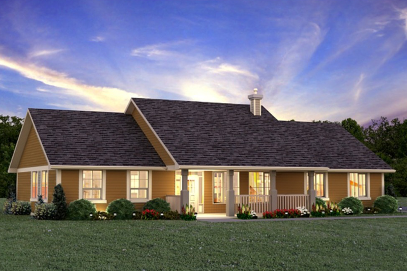 Ranch Style House Plan - 3 Beds 2 Baths 1924 Sq/Ft Plan #427-6 Exterior - Front Elevation