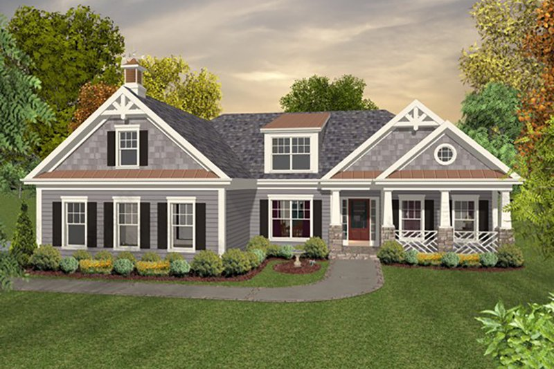 Craftsman Style House Plan - 4 Beds 4 Baths 1700 Sq/Ft Plan #56-628 Exterior - Front Elevation