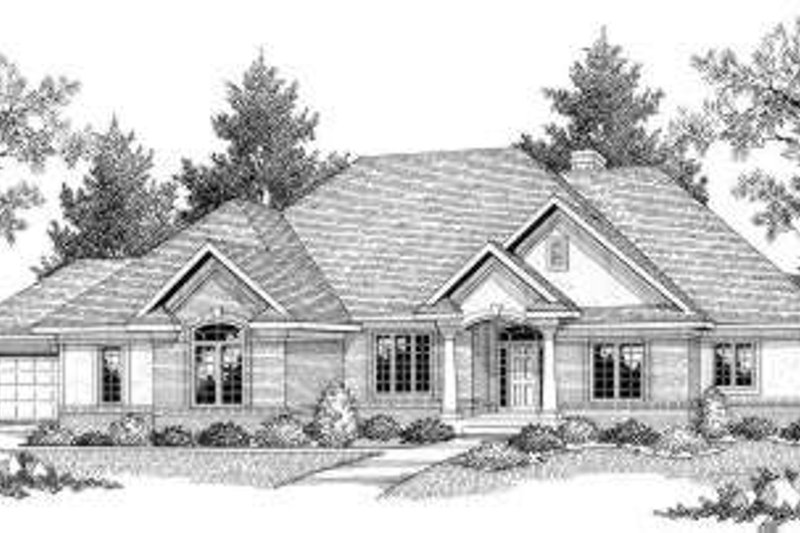 Traditional Style House Plan - 4 Beds 3.5 Baths 3899 Sq/Ft Plan #70-583 Exterior - Front Elevation