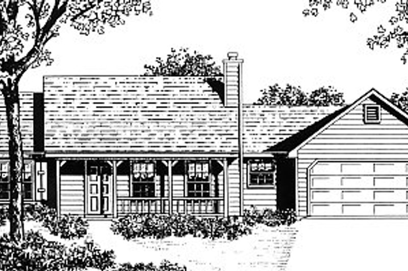 Architectural House Design - Country Exterior - Front Elevation Plan #14-144