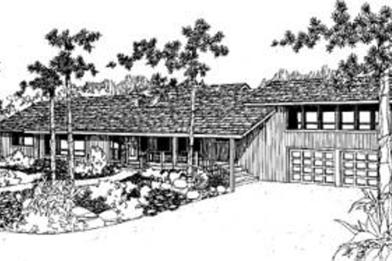 Modern Style House Plan - 3 Beds 2.5 Baths 2636 Sq/Ft Plan #60-307 Exterior - Front Elevation