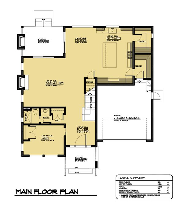 Modern Floor Plan - Main Floor Plan Plan #1066-64
