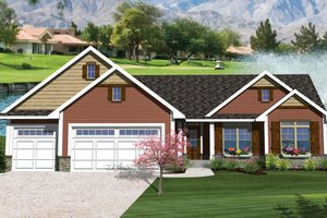 Ranch Exterior - Front Elevation Plan #70-1047