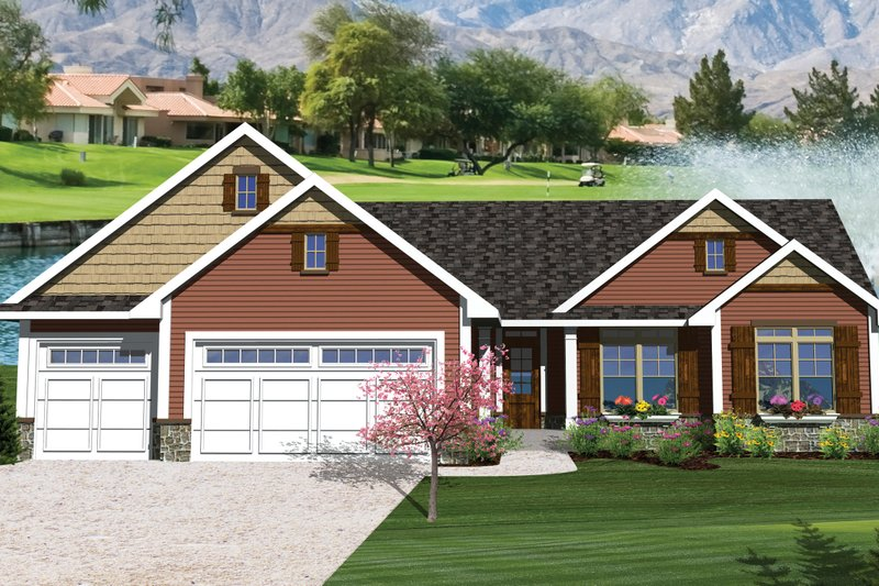 Ranch Exterior - Front Elevation Plan #70-1047 - Houseplans.com