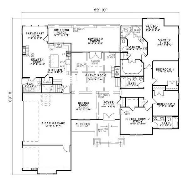 Craftsman Floor Plan - Main Floor Plan #17-2374