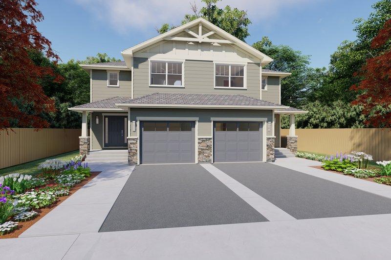 Architectural House Design - Craftsman Exterior - Front Elevation Plan #126-196