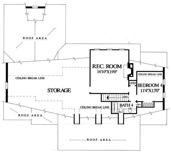Southern Floor Plan - Upper Floor Plan Plan #137-176