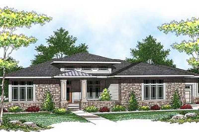 Modern Exterior - Front Elevation Plan #70-932 - Houseplans.com