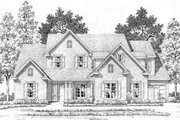 European Style House Plan - 4 Beds 4.5 Baths 4169 Sq/Ft Plan #141-114 Exterior - Front Elevation