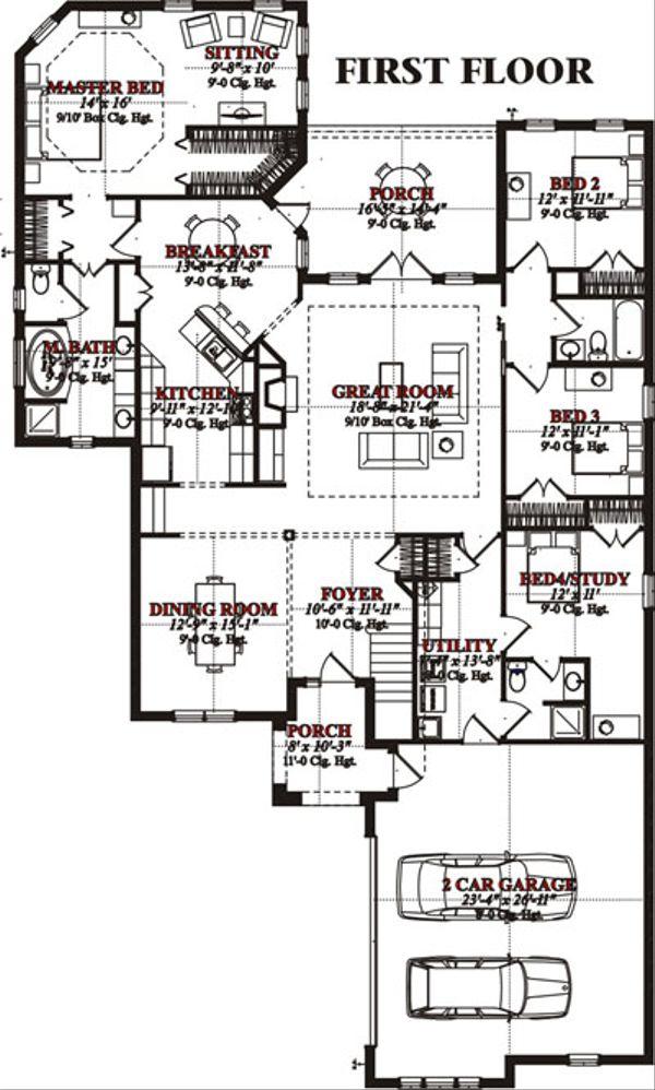 European Floor Plan - Main Floor Plan Plan #63-216
