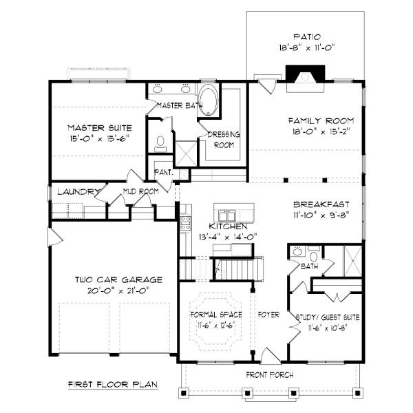 Tudor Floor Plan - Main Floor Plan Plan #413-879