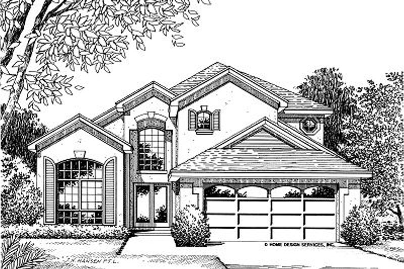 Mediterranean Style House Plan - 4 Beds 2.5 Baths 1879 Sq/Ft Plan #417-163 Exterior - Front Elevation