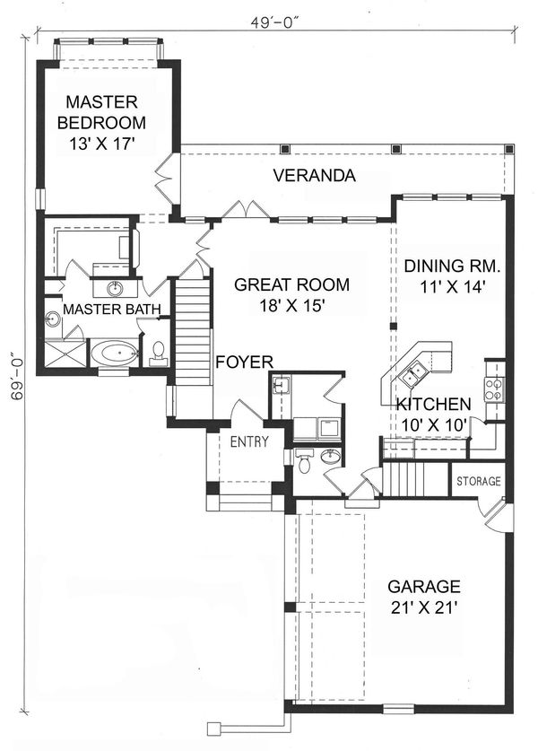 Mediterranean Floor Plan - Main Floor Plan Plan #76-107