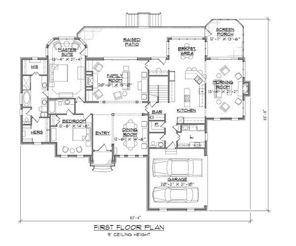 Traditional Floor Plan - Main Floor Plan Plan #1054-80
