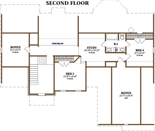 Southern Floor Plan - Upper Floor Plan Plan #63-106
