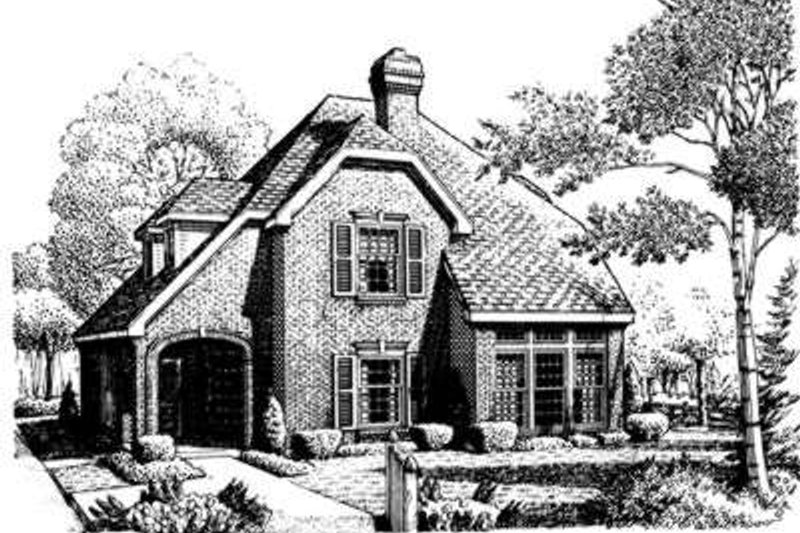 European Exterior - Front Elevation Plan #410-390 - Houseplans.com
