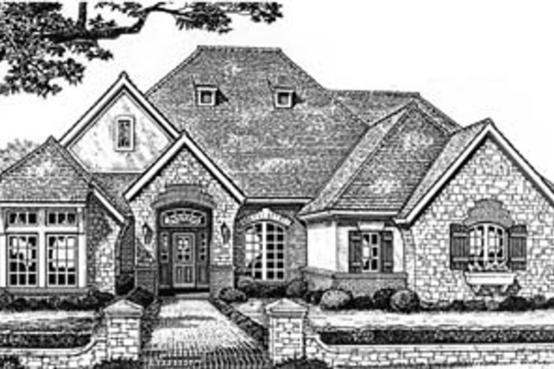 European Style House Plan - 4 Beds 3 Baths 2744 Sq/Ft Plan #310-550 Exterior - Front Elevation