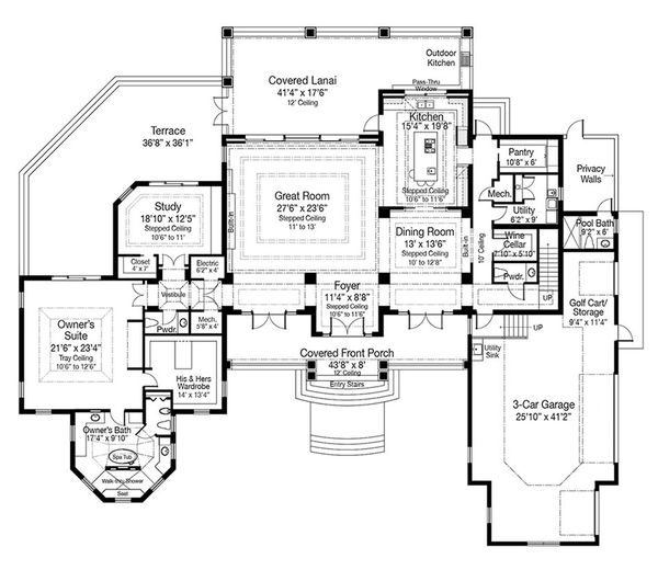 Beach Floor Plan - Main Floor Plan Plan #938-102