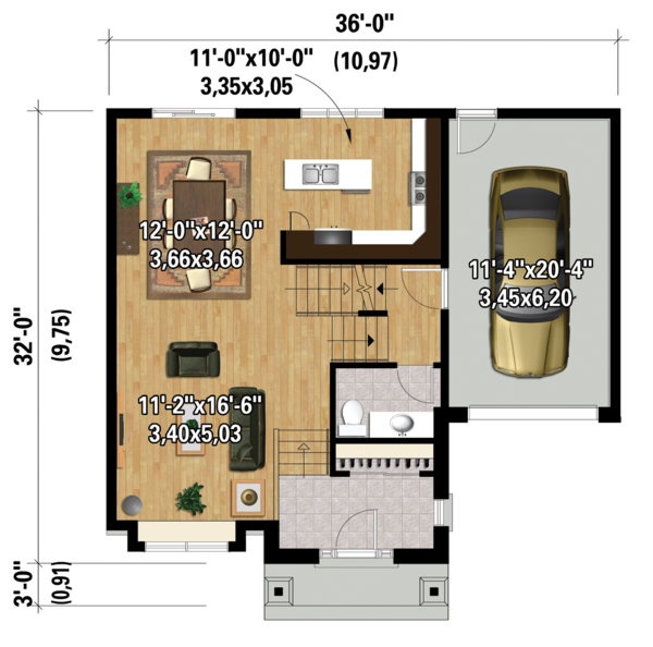 Country Floor Plan - Main Floor Plan Plan #25-4299