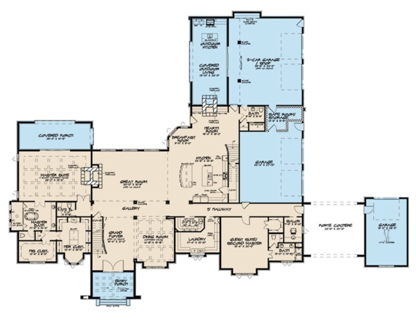 European Floor Plan - Main Floor Plan Plan #923-112
