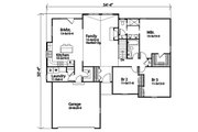 Ranch Style House Plan - 3 Beds 2 Baths 1684 Sq/Ft Plan #22-599 Floor Plan - Main Floor