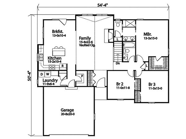 Ranch Floor Plan - Main Floor Plan #22-599