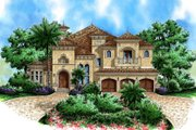 Mediterranean Style House Plan - 5 Beds 4.5 Baths 4138 Sq/Ft Plan #27-381 Exterior - Front Elevation